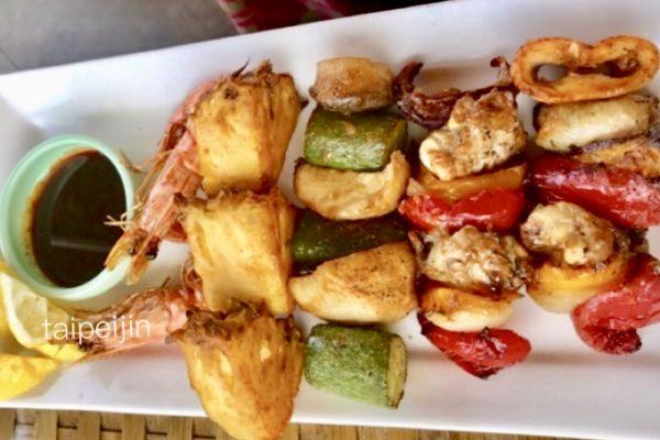 淡水榕堤水湾餐廳の串焼き