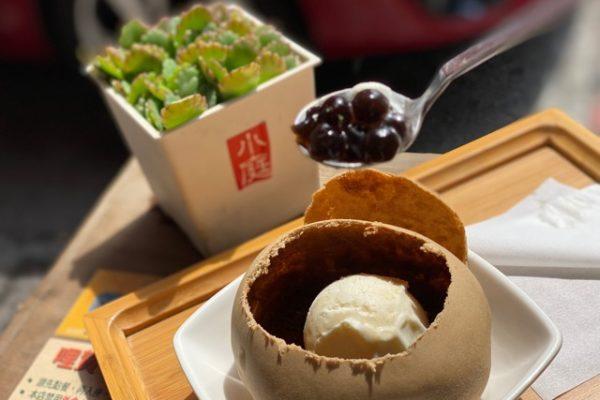 凸餅冰淇淋とタピオカ