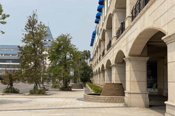 淡水福容大飯店中庭からの外観